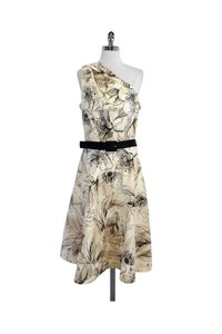 St. John short dress Tan Black Floral Print Cotton One Shoulder on Tradesy