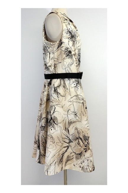 St. John short dress Tan Black Floral Print Cotton One Shoulder on Tradesy Image 1