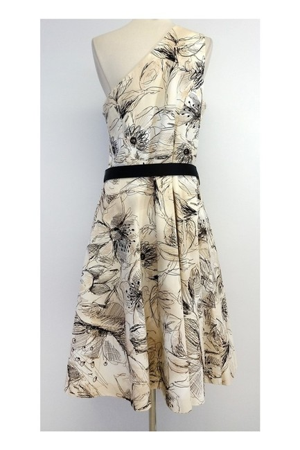 St. John short dress Tan Black Floral Print Cotton One Shoulder on Tradesy Image 2
