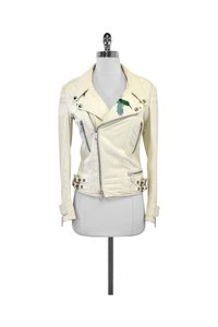 Philipp Plein Cream Leather Embellished Skull Moto Jacket
