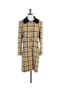 Tara Jarmon Brown Plaid Wool Coat
