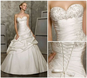 Mori lee ivory silk taffeta 2504 traditional wedding dress for Mori lee taffeta wedding dress