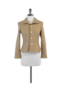 Ralph Lauren Cream Houndstooth Wool Tan Jacket