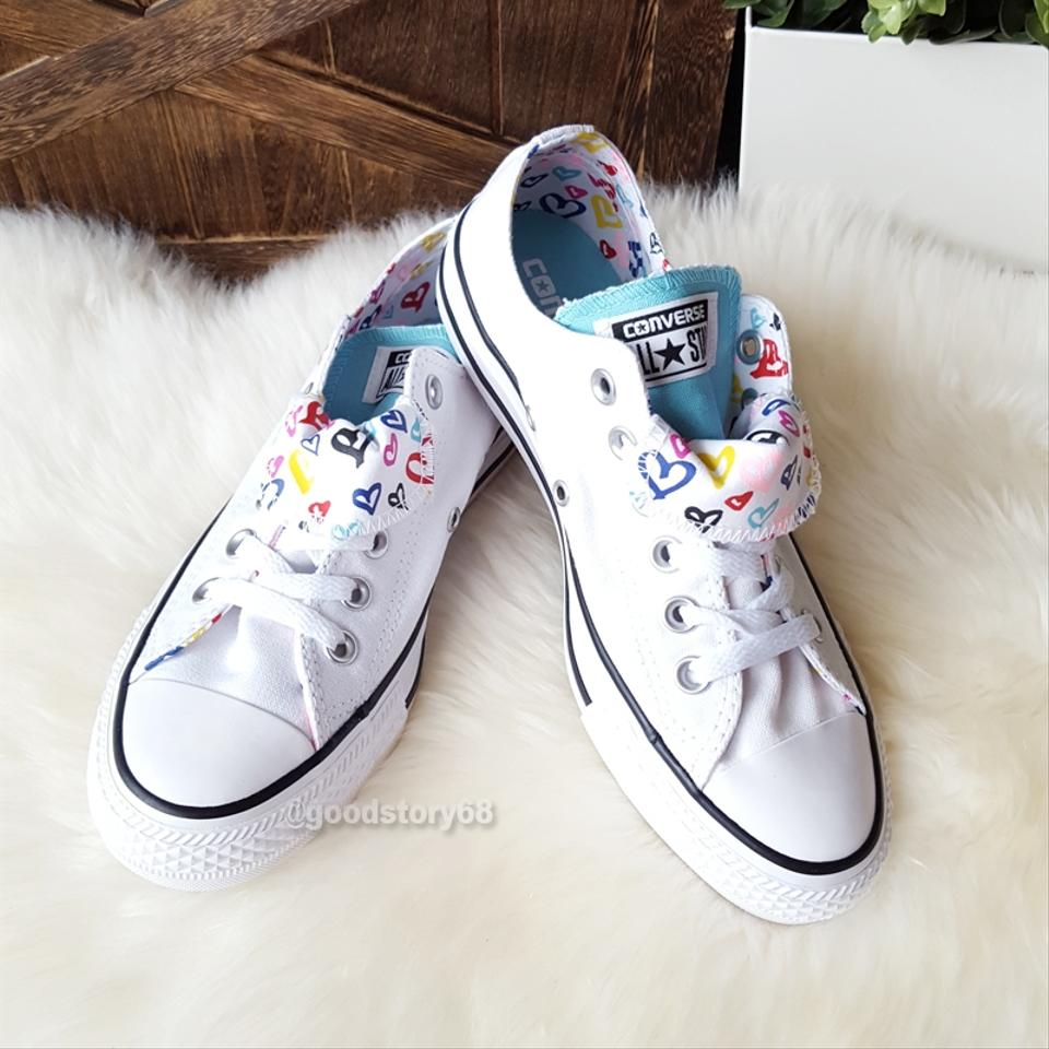 999113ad8169 Converse White Aqua Women s Chuck Taylor All Star Double Tongue Sneakers.  Size  US ...