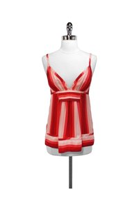 Marc by Marc Jacobs Pink Striped Silk Top Red