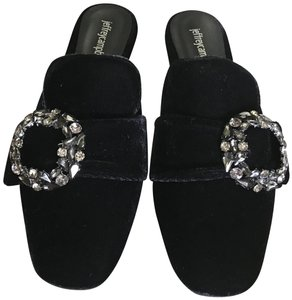 Jeffrey Campbell Velvet Jeweled Black Mules