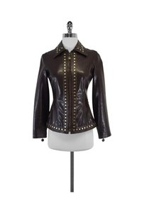 Moschino Leather Studded Brown Jacket