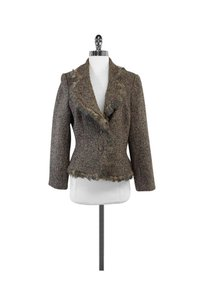 Carmen Marc Valvo Tweed Feather Trim Brown Jacket