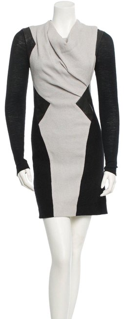 Item - Grey Black Monochrome Wool Leather Panel Sleeve Mid-length Night Out Dress Size 8 (M)