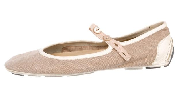 Item - Taupe Cream Canvas Mary Jane Sport Sneaker Flats Size US 9 Regular (M, B)