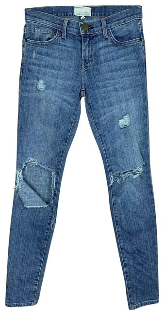 Item - Blue Distressed Driftwood Destroy Ankle Skinny Jeans Size 25 (2, XS)