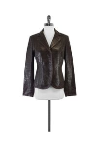 Max Mara Woven Leather Brown Jacket