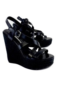 Vera Wang Lavender Leather Espadrille Black Wedges