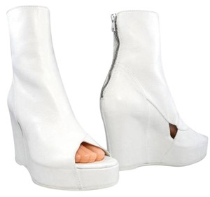 Ann Demeulemeester Wedge Platform Leather Peep-toe White Boots