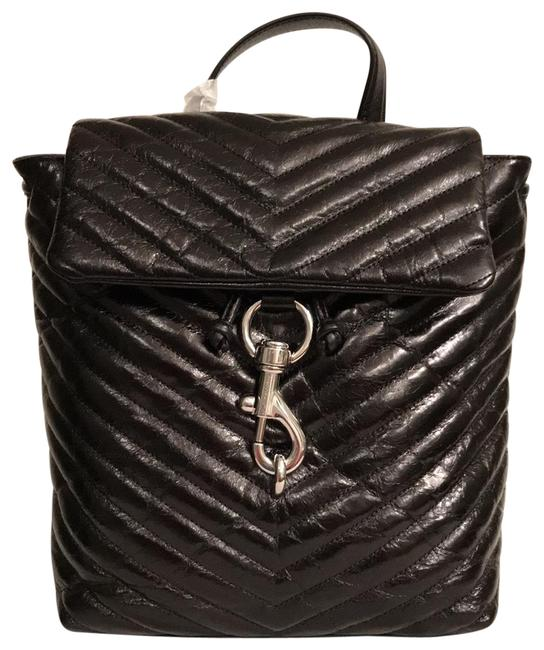 Item - New Edie Quilted Flap Black Silver Leather Backpack