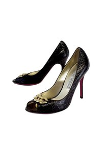 Luciano Padovan Dark Snakeskin Leather Heels Brown Pumps
