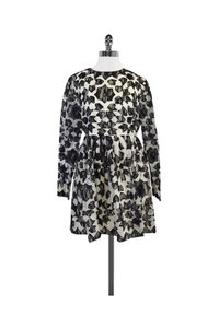 Manoush short dress Black Long Sleeve White Lace Print on Tradesy