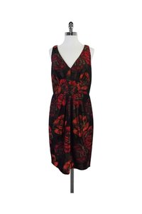 Chetta B. by Sherrie Bloom and Peter Noviello short dress Red Floral Print Brocade Sleeveless on Tradesy