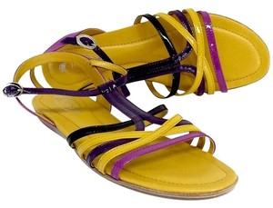 Tod's Yellow Patent Leather Purple Sandals