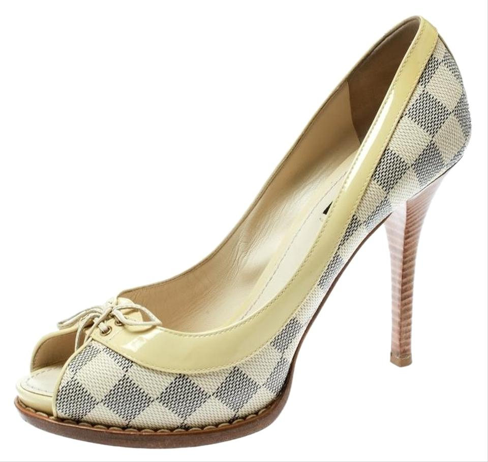 5c9abb9d035 Louis Vuitton Beige Damier Azur Canvas with Patent Leather Pumps ...