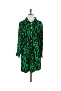 Alice & Trixie short dress Green Black Animal Print Shirt on Tradesy