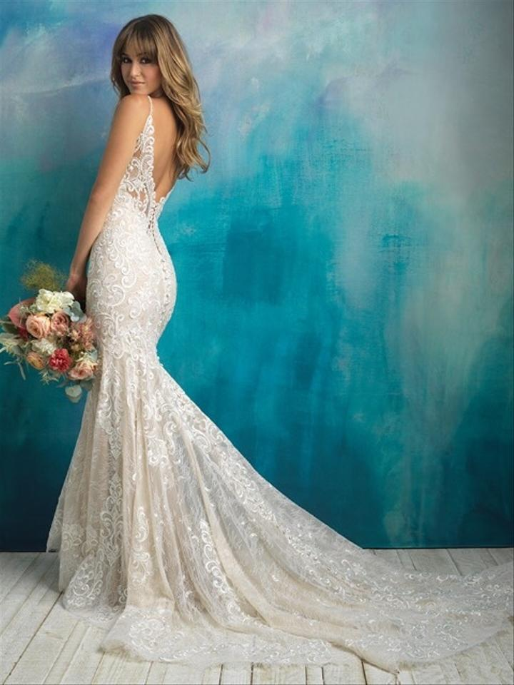 7961d296a1e4 Allure Bridals Nude Ivory Silver 9501 New Sexy Wedding Dress Size