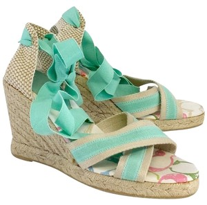 9fc781712a7e Coach Mint Beige Espadrille Wedge green Sandals