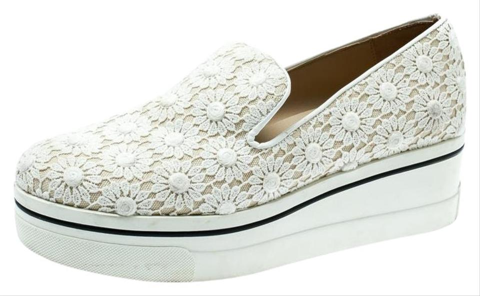 130df631a963 Stella McCartney White Lace/Canvas Slip On Sneakers Wedges. Size: EU 38 ...