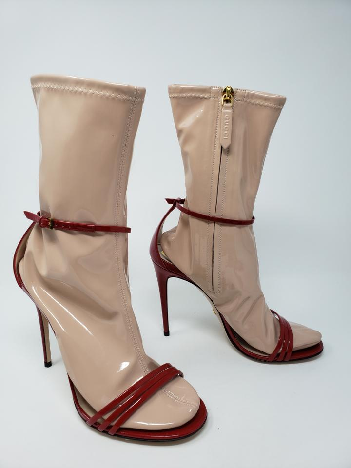 0e66b58df Gucci Beige Red Patent Leather Latex Sock Sandal Heels Boots/Booties ...