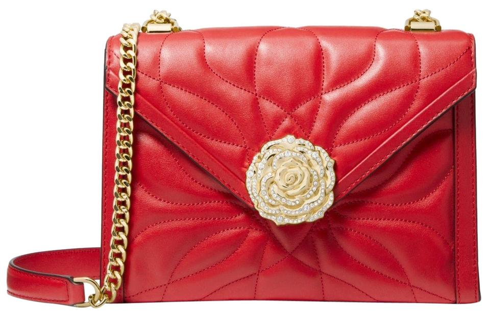 c0ef68599a0c Michael Kors Whitney Large Petal Quilted Convertible Bright Red ...