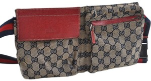 Gucci Monogram Waist Fanny Pack Bum Fanny Red Travel Bag