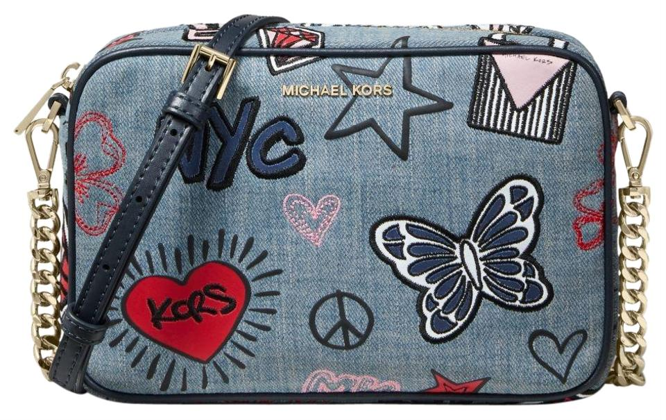 df924f955 Michael Kors Ginny Medium Embroidered Washed Denim Cotton Cross Body ...