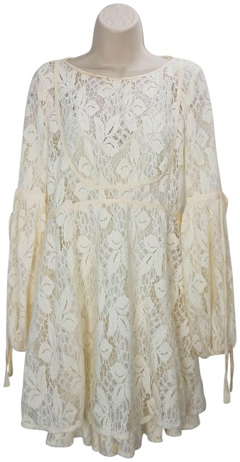 Item - Cream Ruby Laced Midi Babydoll Mid-length Short Casual Dress Size 2 (XS)