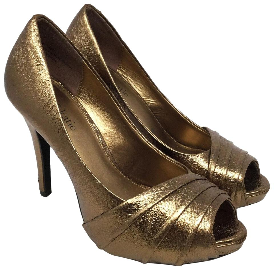 Kelly \u0026 Katie Gold Women\u0027s Open Toe High Heels Sparkle Pumps Size US 8  Regular (M, B) 61% off retail