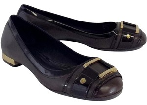 Tory Burch Leather Gold Buckle Brown Flats