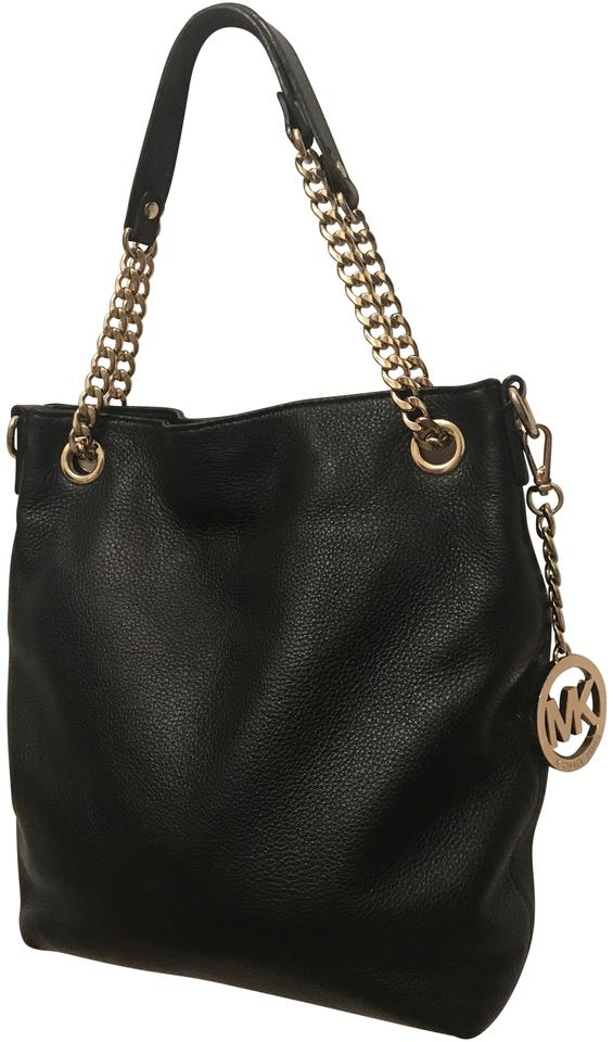 8f6946714a10 Michael Kors Jet Set Chain Medium Small Convertible Tote Mint Black Leather  Shoulder Bag