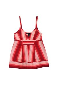 Marc by Marc Jacobs Red Striped Silk Top Pink
