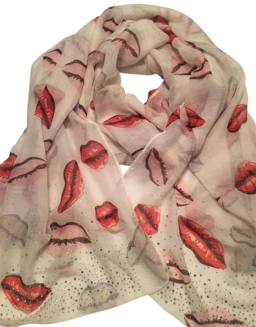 Item - Cream Pink Red Lips Scarf/Wrap