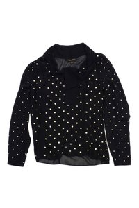 Cynthia Steffe Gold Studded Long Sleeve Top Black
