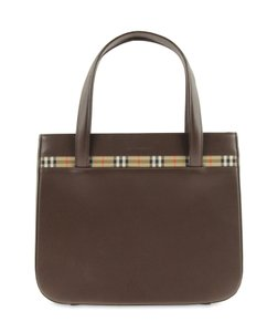 Burberry Nova Checkered Leather Totes Satchel in Brown