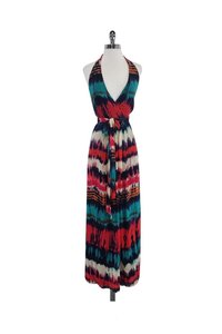 red Maxi Dress by MILLY Multicolor Tie Dye Silk Maxi