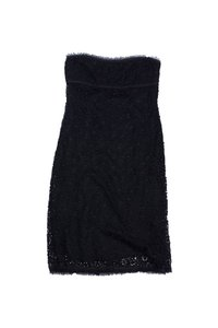 Tocca short dress Black Floral Lace Strapless on Tradesy