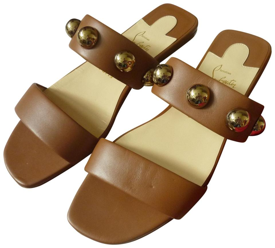 new concept a7e15 04dbb Christian Louboutin Brown Simple 'bille' Napa Leather Studded Flat Sandals  Size US 7.5 Regular (M, B) 20% off retail