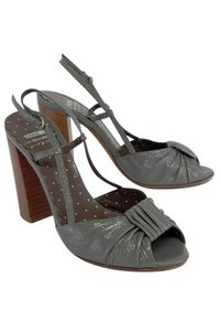 Moschino Cheap Chic Grey Patent Leather Sandal Heels Pumps