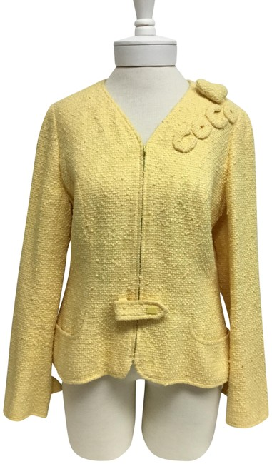 Item - Yellow Tweed with Coco Embroidery Jacket Size 12 (L)