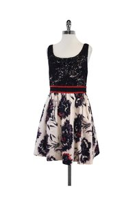Peter Som short dress Pink Black Print Lace Sleeveless on Tradesy