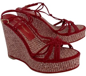 Jean-Michel Cazabat Suede Wicker Red Wedges