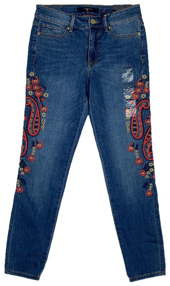 40363db1 Tommy Hilfiger Blue Embroidered Slim Women New Ankl Skinny Jeans ...