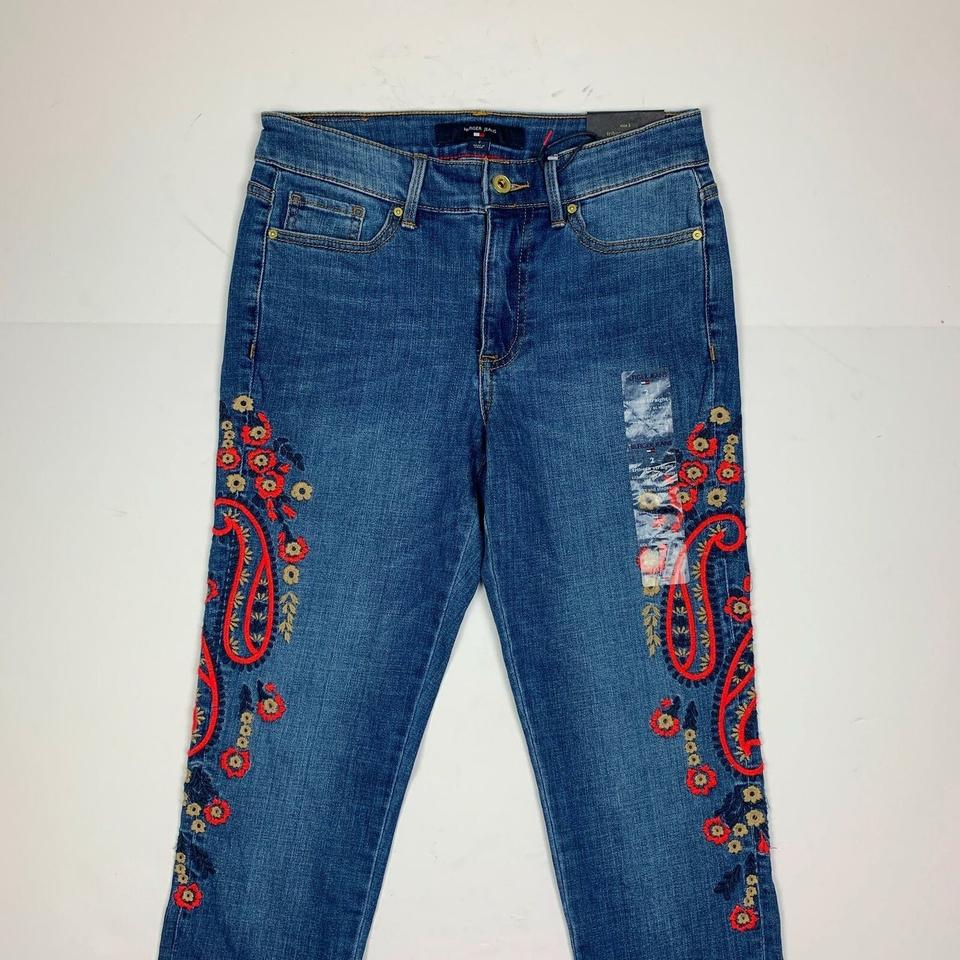b64e9cba Tommy Hilfiger Blue Embroidered Slim Women New Ankl Skinny Jeans ...