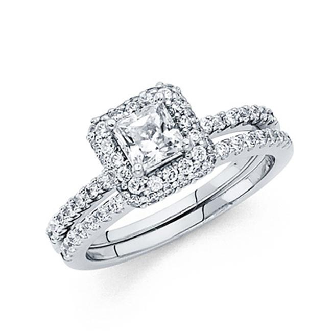 Item - White Halo Princess-cut Round Pave with Scalloped Side Cz Wedding Ring